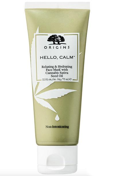 Beste Hanfsamenölprodukte für die Haut: Origins Hello, Calm Relaxing & Hydrating Face Mask mit Cannabis Sativa Seed Oil